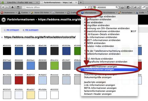 Toolbar mit Funktion zu den RGB Werten