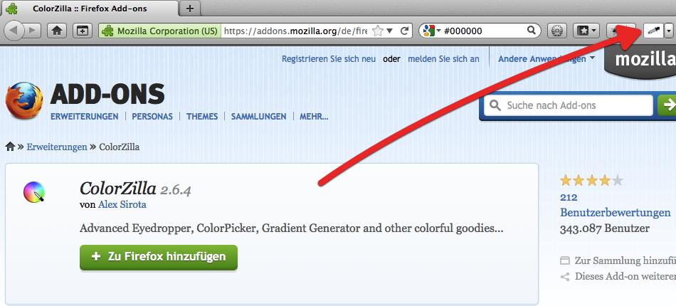 colorzilla Firefox Plugin um RGB Werte finden