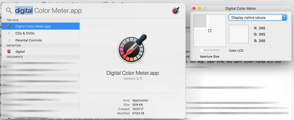Apple DigitalColor-Meter Programm